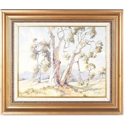 Ron. L. Muller Gum Trees 1977 Watercolour