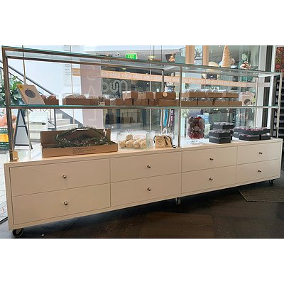 Mobile Eight Drawer Shop Display Unit with 2 Glass Shelves