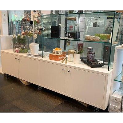 Mobile Four Door Floor Display Unit with 2 Tier RHS Glass Shelves