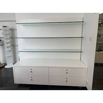 Mobile Four Drawer Three Glass Shelves Unit