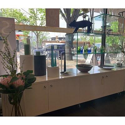 Mobile Four Door Floor Display Unit with 3 Tier RHS Glass Shelves