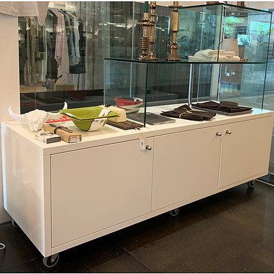 Mobile Three Door Floor Display Unit with 2 Tier RHS Glass Shelves