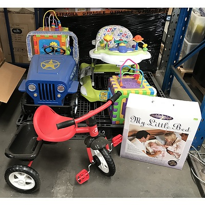 Group of Childrens Toys Including 'My Little Bed', Trike, Police Ride-in Jeep, Two Learning Boxes and Infant Activity Centre
