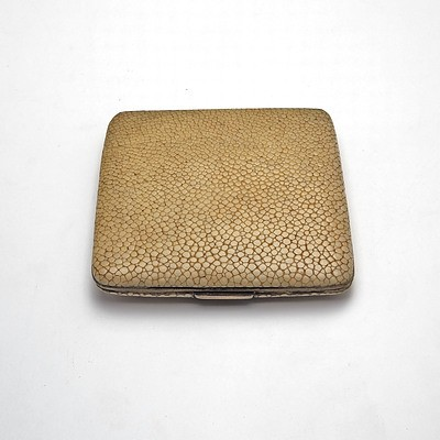 English Shagreen and Gilt Lined Cigarette Case, British Early 20th Century