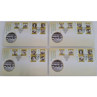 2000 Australian Olympic Legends First Day Covers - Lot of Four