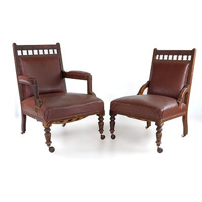 Two Edwardian Tan Leather Upholstered Chairs