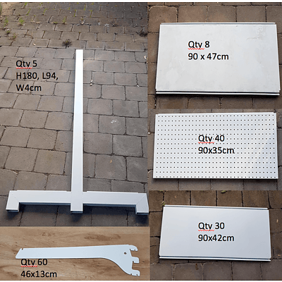 Commercial Pegboard 180cm High Shop Shelving