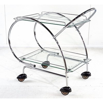 Art Deco Style Mid Century Chrome and Glass Traymobile