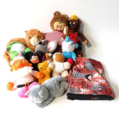 Group of Plush Soft Toys and T-Shirts