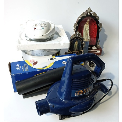 Large Group of Household Items Including GMC Leaf Blower, Boxed Scholl Massager, Assorted China, Tiffany Convection Oven and More