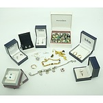 Group of Pandora Bracelets and Boxed Earrings