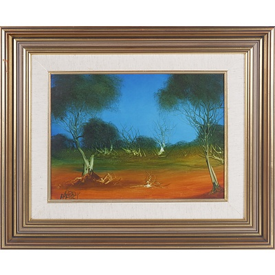 Pro Hart (1928-2006) Landscape, Oil on Board