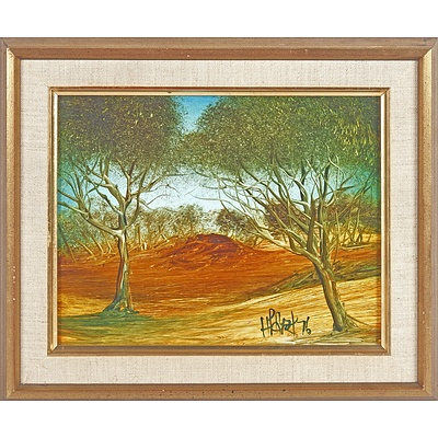 Pro Hart (1928-2006) Untitled Landscape 1976, Oil on Board