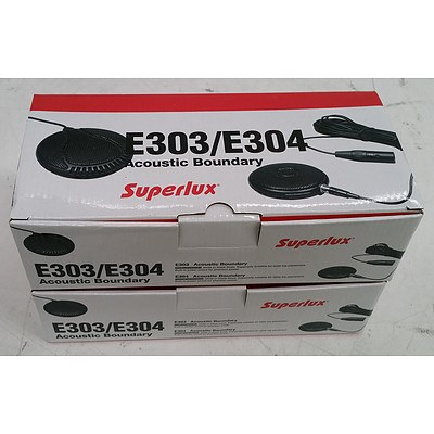 SuperLux E303/E304 Tabletop Acoustic Boundary Microphone - Lot of Two *Brand New