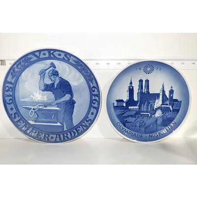 1819-1919 Royal Copenhagen Memorial Odd Fellow Plate and Copenhagen 1972 Munich Olympics Plate