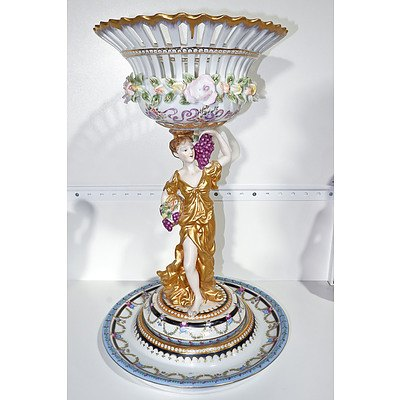 Large German Dresden Style Porcelain Centrepiece, Late 20th Century