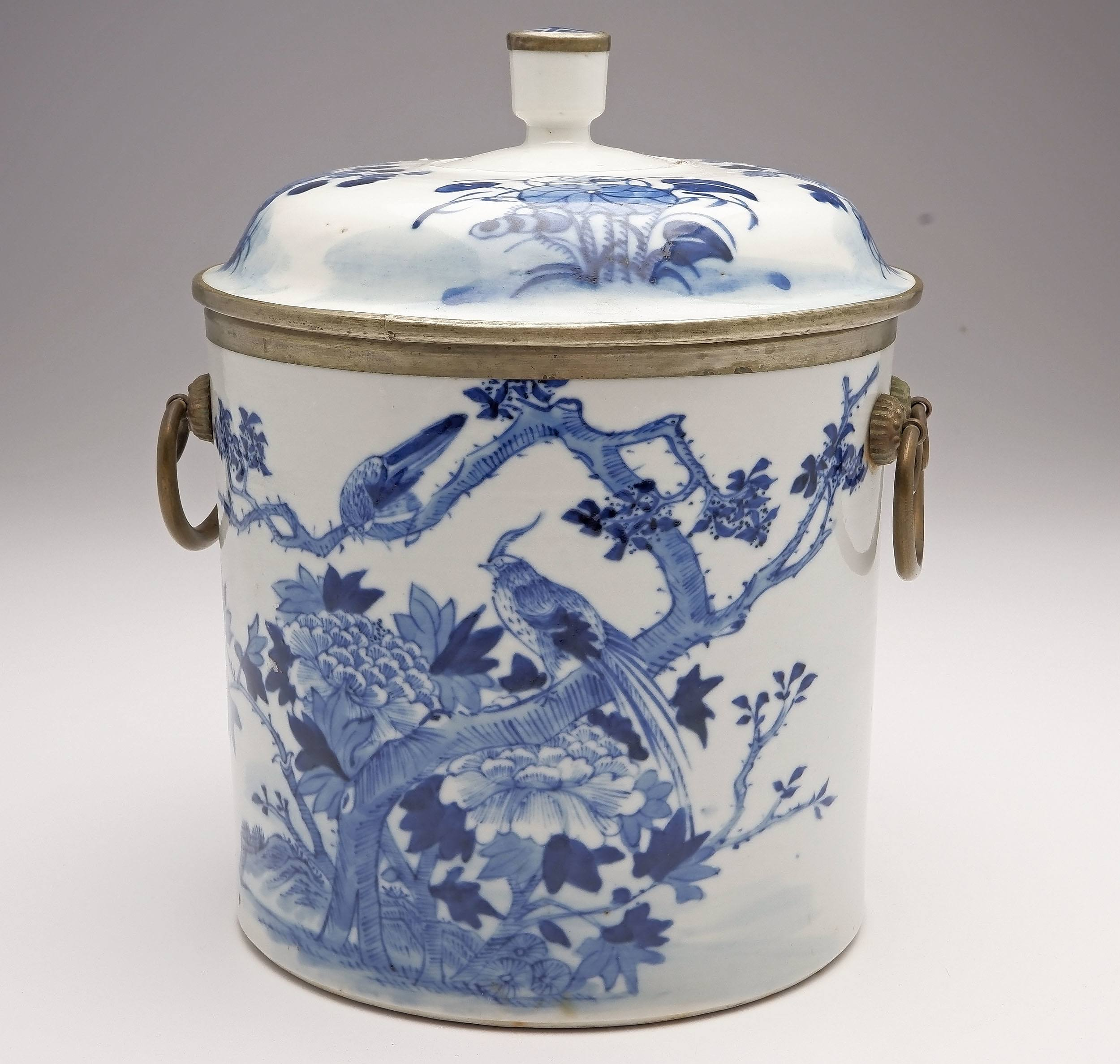 'Chinese Blue de Hue Metal Mounted Jar and Cover for the Vietnamese Market Late 19th Century'