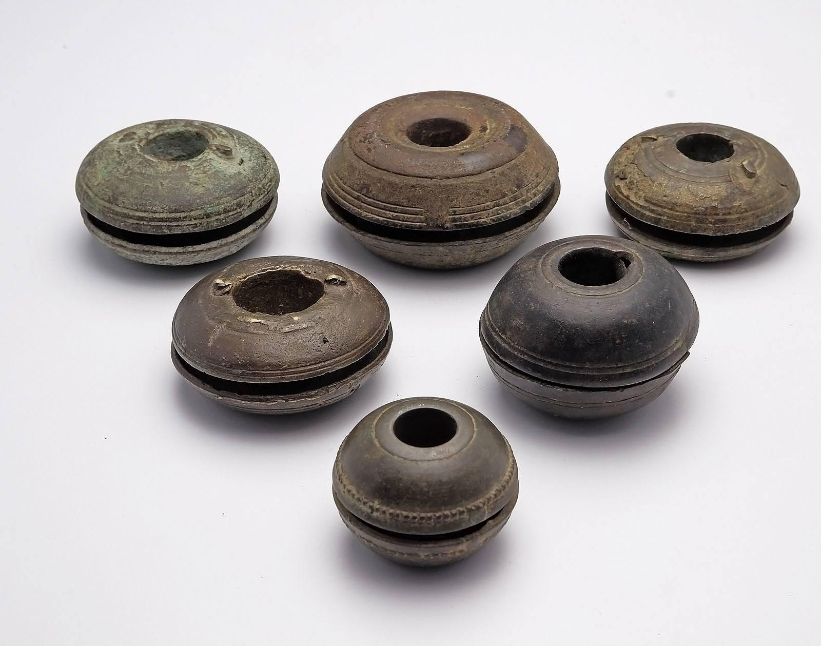 'Six Small Burmese Bronze Elephant Bells, 19th Century'