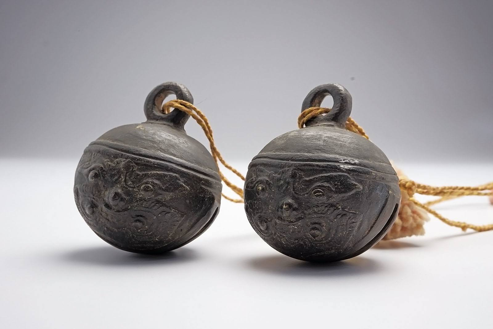 'Two Yunnan South Chinese Bronze Elephant Bells with Taotie Masks, 19th Century'