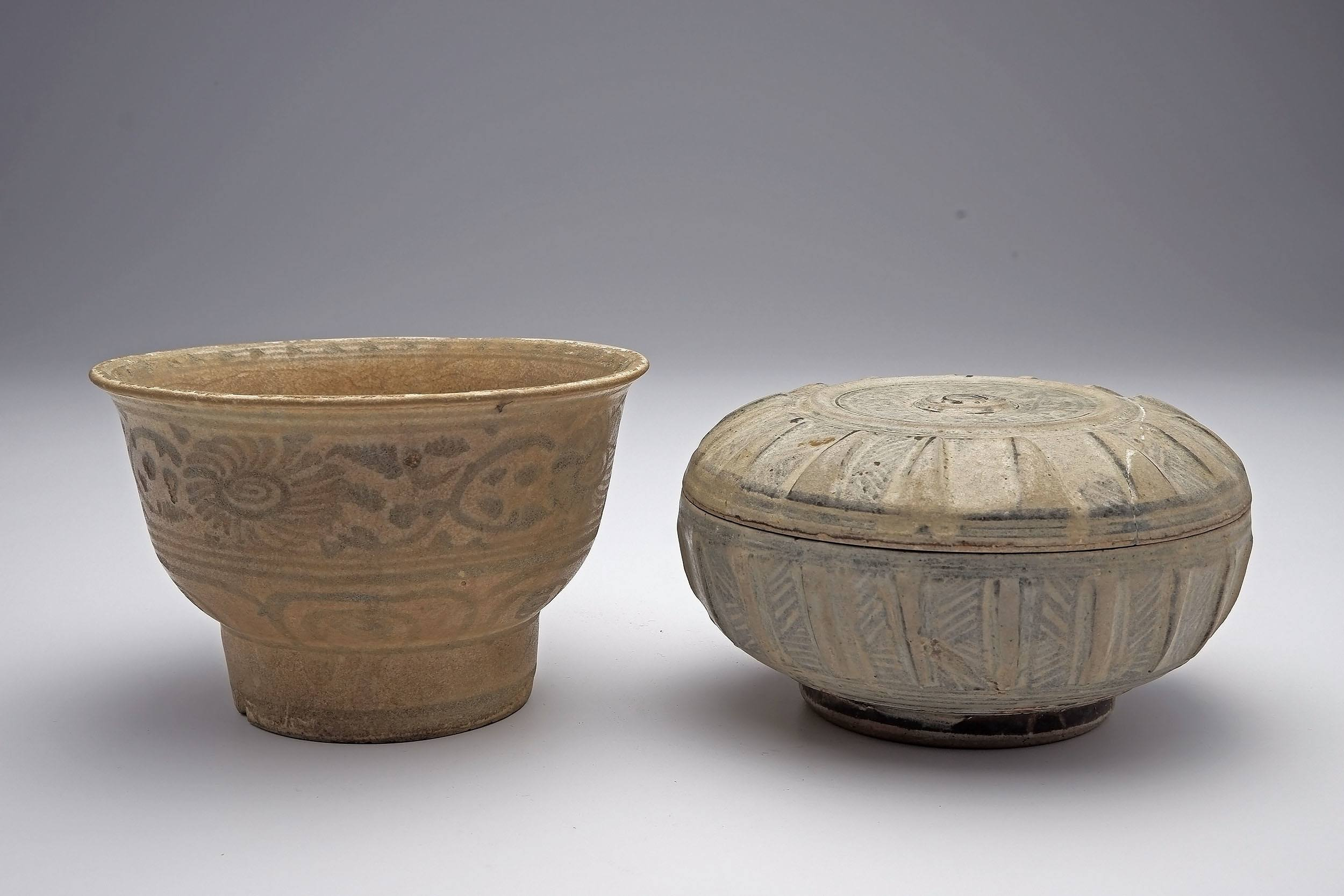 'Annamese High Foot Tea Bowl 16th Century, and Two Thai Sawankhalok Pottery Vessels 14th-16th Century'