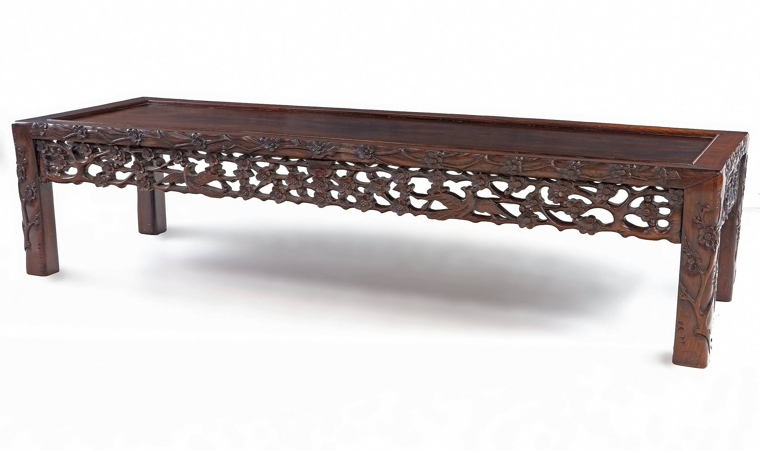 'Large Chinese Carved Rosewood Long Low Table with Carved Floral Motif, Mid to Later 20th Century'