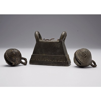 Burmese Bronze Buffalo Bell (Hka-Lauk) and Two Small Yunnan South Chinese Bronze Elephant Bells, All 19th Century