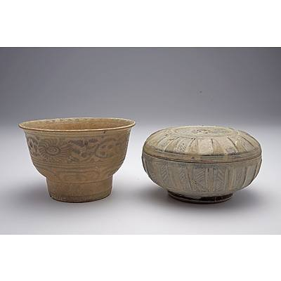 Annamese High Foot Tea Bowl 16th Century, and Two Thai Sawankhalok Pottery Vessels 14th-16th Century