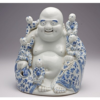 Rare Chinese Blue and White Buddha Budai with Five Boys, Wei Hong Tai Mark, Republic Period