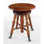 Antique Style Revolving Piano Stool with Glass Ball Feet