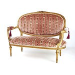 Good Louis XVI Style Finely Carved and Moulded Giltwood Canape with Cut Velvet Upholstery, Late 19th/Early 20th Century