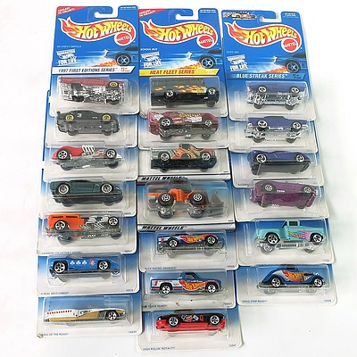 Twenty One Hot Wheels Model Cars from 1997 Sealed in Pack