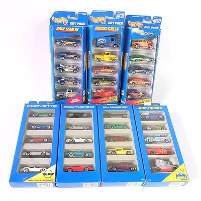 Seven Hot Wheels Model Car Sealed Gift Packs, Including 50s Favorites, Corvettes, Camaros, and Just Trucks