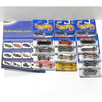 Thirteen Hot Wheels Model Cars from the Future Fleet Series and the 2000 First Edition Series and a Hot Wheels Poster