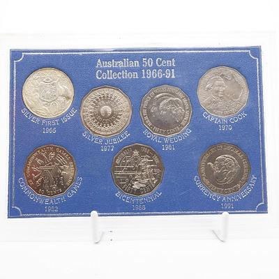 1966-91 Australian 50 Cent Collection 7 Coin Set