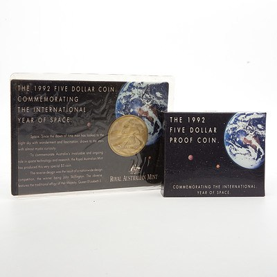 1992 International Year of Space $5 Silver Proof Coin with Presentation Box and 1992 International Year of Space $5 Alloy-Bronze Proof Coin