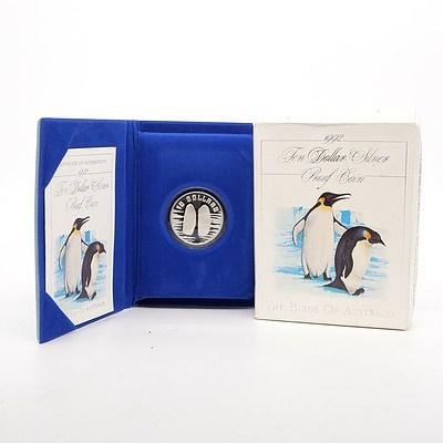 1992 The Birds of Australia, Emperor Penguin $10 Silver Proof Coin