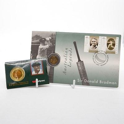 1996 Australia $5 Sir Donald Bradman Coin and a 1997 Australian Legends $5 Sir Donald Bradman Coin and Stamp Cover