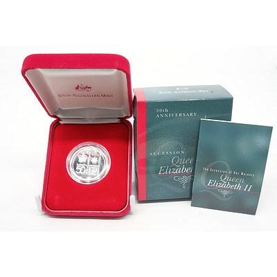 2002 50th Anniversary Accession 50 Cent Queen Elizabeth Fine Silver Proof Coin