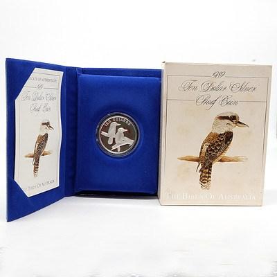 1989 The Birds of Australia, Kookaburra $10 Silver Proof Coin