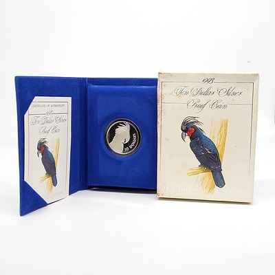 1993 Birds of Australia, Palm Cockatoo $10 Silver Proof Coin