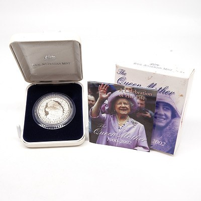 1900-2002 The Queen Mother: A Celebration of Her Life $5 Fine Silver Proof Coin