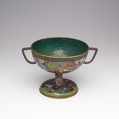 Japanese Cloisonne Enamel Twin Coupe, Early 20th Century