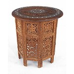Indo Persian Inlaid Teak Folding Small 'Caravan' Table