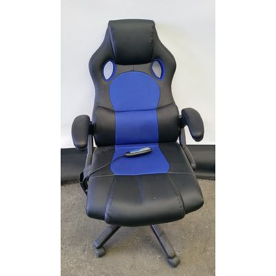 Black Leather Massage Office/Gaming Chair
