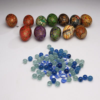 A Collection of Decorated Eggs Including Indigenous Australian and Burmese Lacquer and 400gm approx Marbles