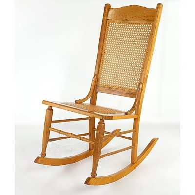 Antique Rocking Chair with Rattan Seat and Back Circa 1900