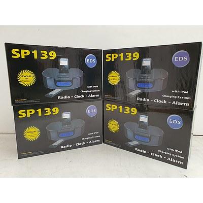 EDS SP139 Radio/Clock/Alarm Ipod Dock - Lot of Four - RRP over $500 - Brand New