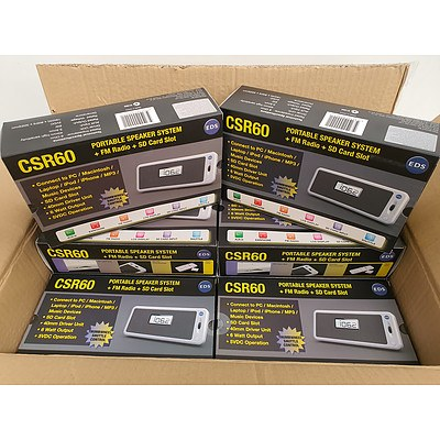 EDS CSR60 Portable Speaker System with SD Card Slot and FM Radio - Lot of 20 - Brand New RRP $1200+