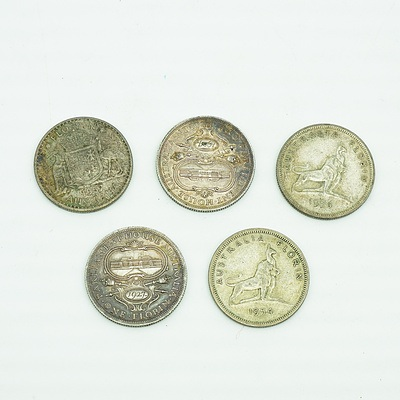 Two 1927 Parliament House Florins, Two 1954 Florins and a 1957 Florin