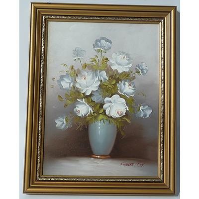 Robert Cox (1934-2001) Flower Vase Floral Still Life Oil On Board